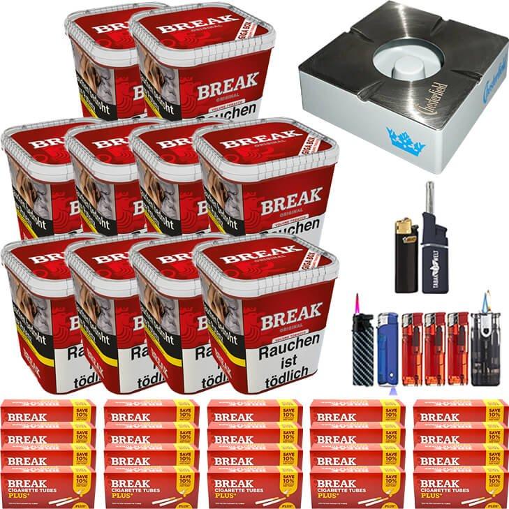 Break Original 10 x 230g Volumentabak 4000 Break Xtra Plus Filterhülsen Uvm.