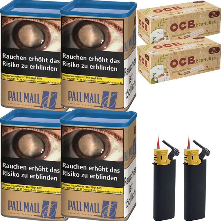 Pall Mall Authentic Blue 4 x 55g mit 500 Eco-Tubes Hülsen