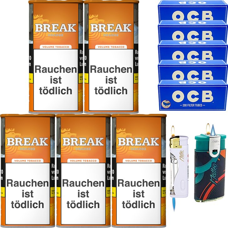 Break Orange 5 x 110g mit 1000 OCB Hülsen