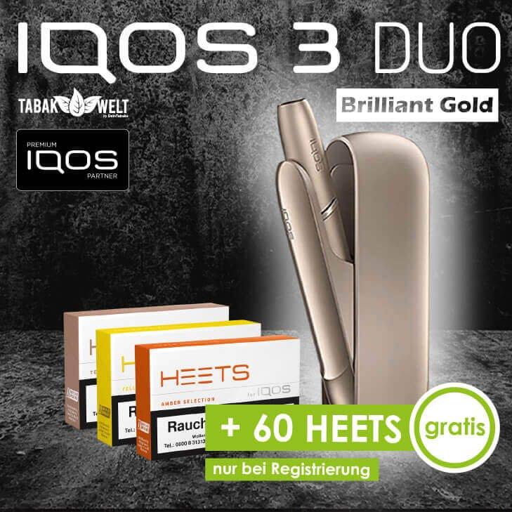 IQOS™ 3 DUO Starterkit Brilliant Gold + 60 Heets