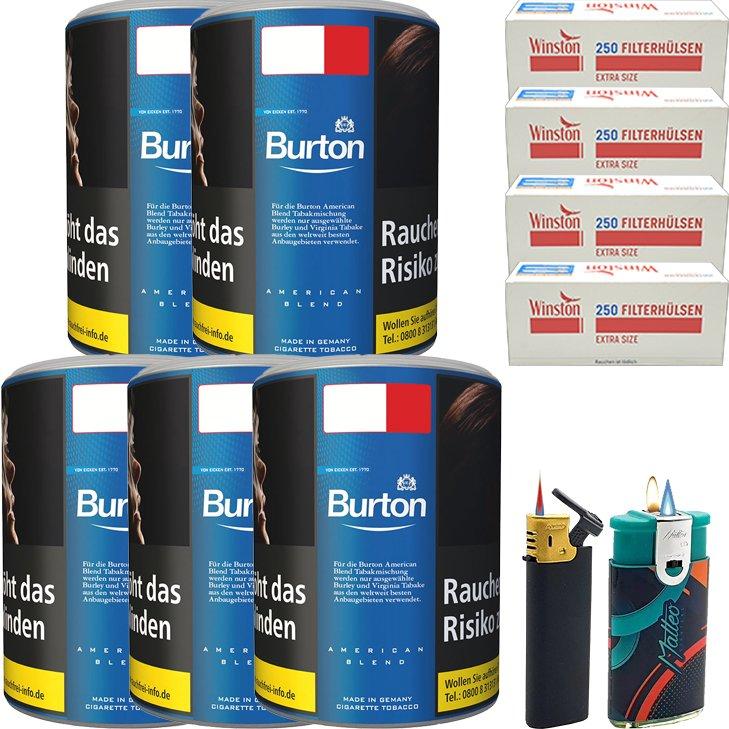Burton Blue / Blau 5 x 120g mit 1000 Extra Size Hülsen