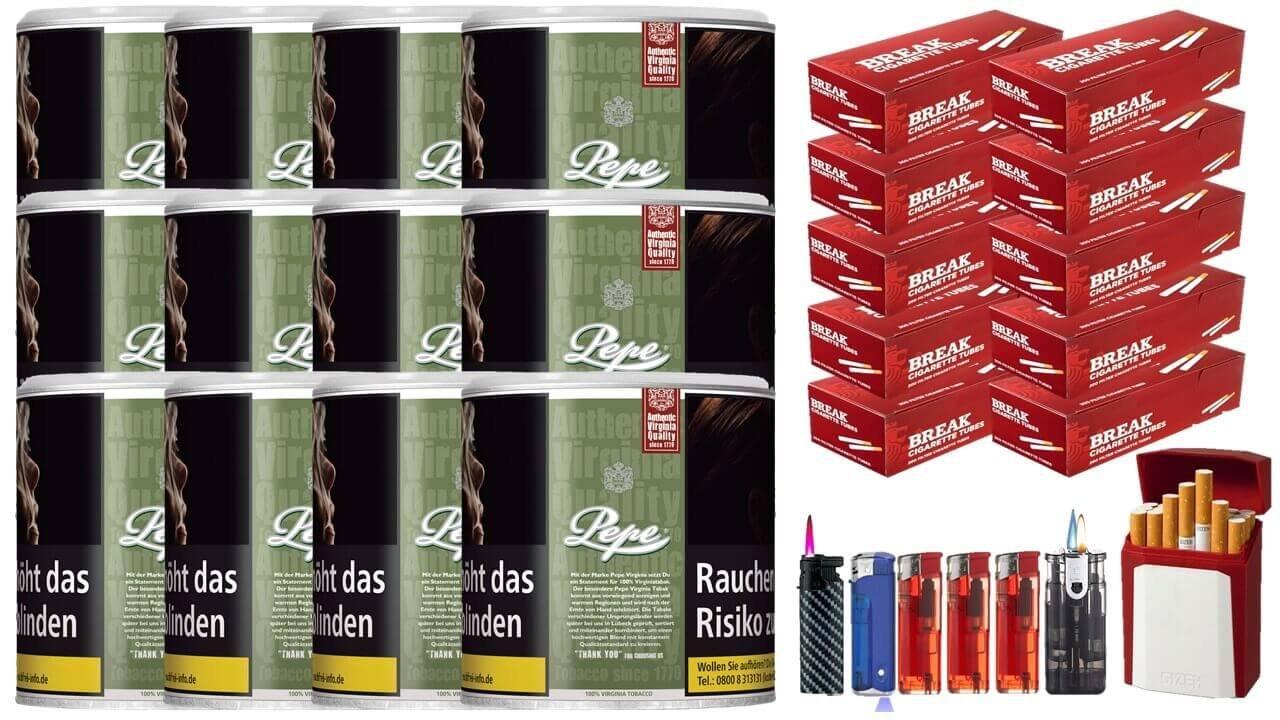 Pepe Rich Green 12 x 80g Feinschnitt / Zigarettentabak 2000 Filterhülsen Uvm.