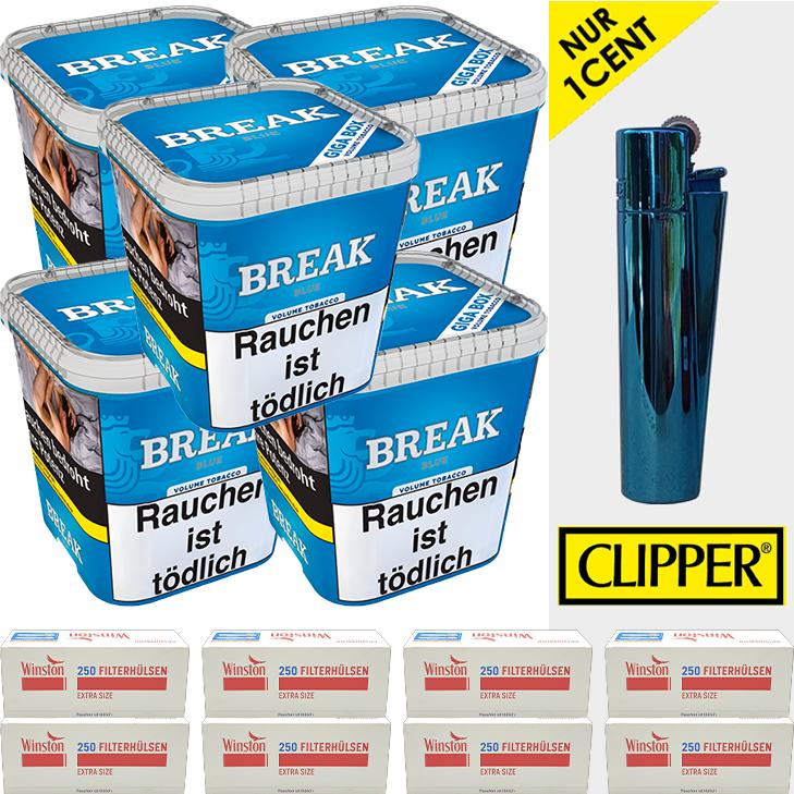 Break Blue / Blau 5 x 230g mit 2000 Extra Size Hülsen