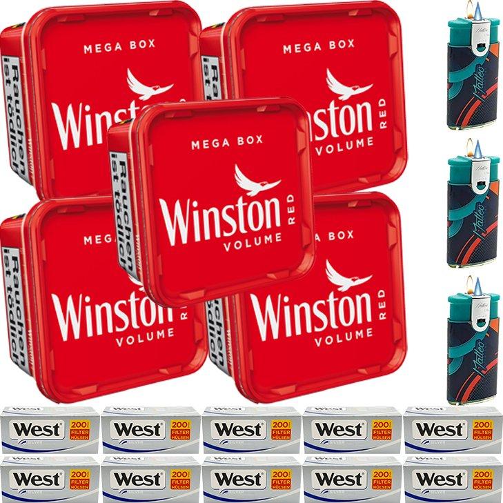 Winston Mega Box 5 x 155g mit 2000 Silver King Size Hülsen