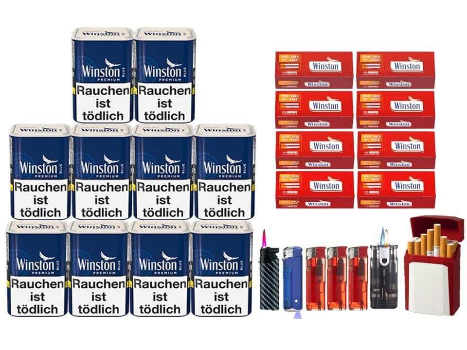 Winston Premium Blue 10 x 90g Feinschnitt 2000 Winston Extra Filterhülsen Uvm.