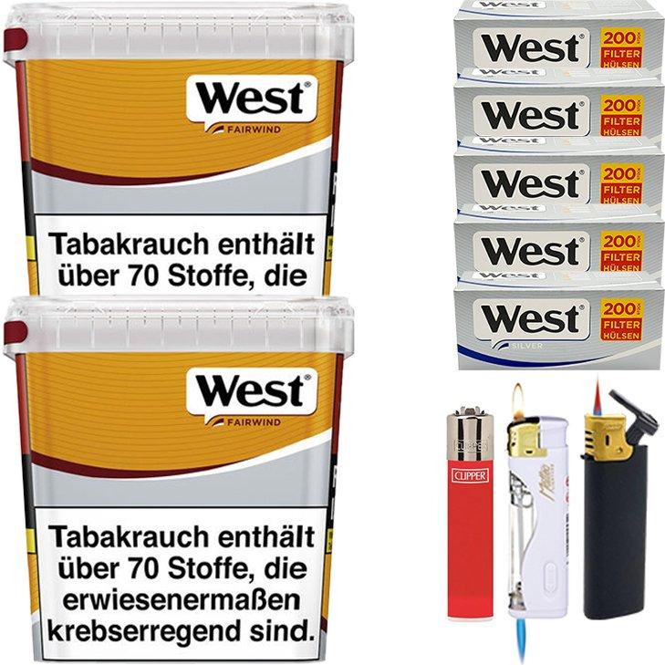 West Yellow Fairwind 2 x 310g mit 1000 Silver King Size Hülsen
