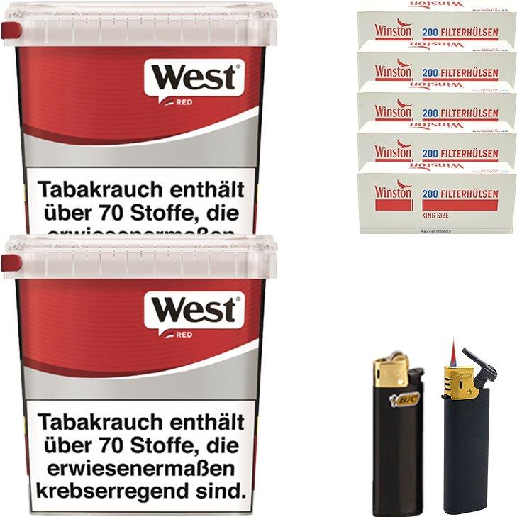 West Red 2 x 280g mit 1000 King Size Hülsen
