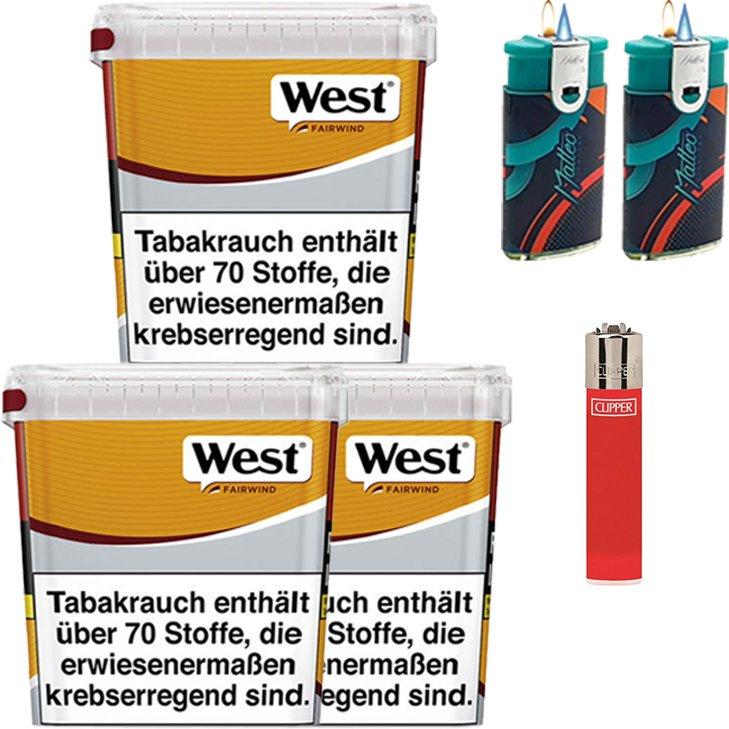 West Yellow Fairwind 3 x 310g mit Clipper Feuerzeug