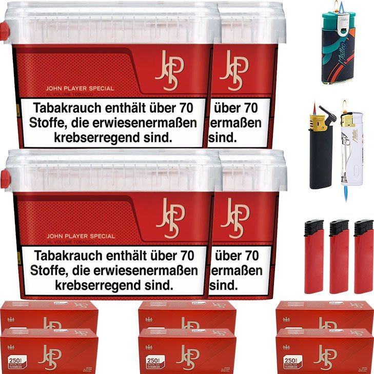 JPS John Player Mega Box 4 x 150g met 1500 Special Size Hülsen