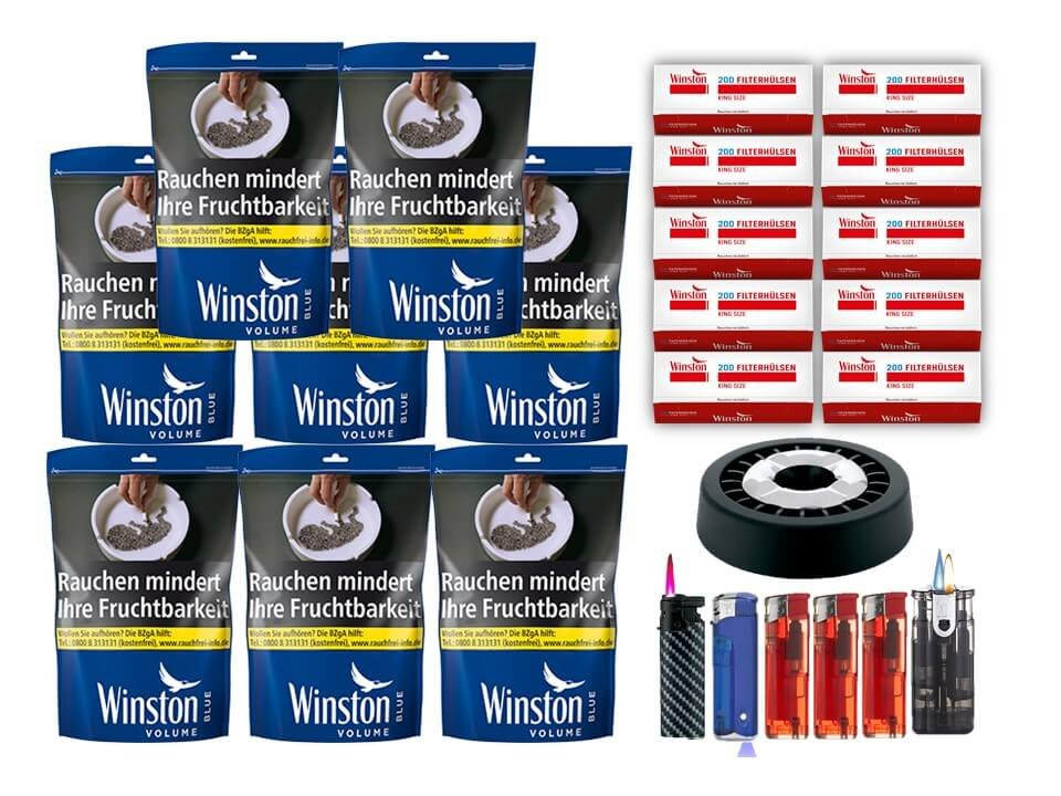 Winston Blue 8 x 125g mit 2000 King Size Filterhülsen