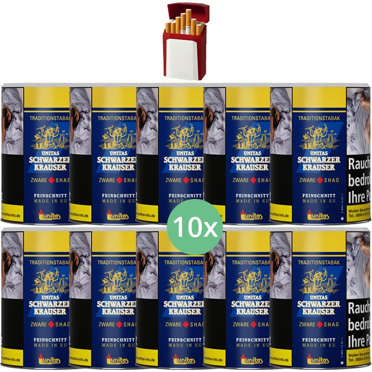 Schwarzer Krauser Zware Shag 10 x 125g Zigarettentabak Gizeh Etui