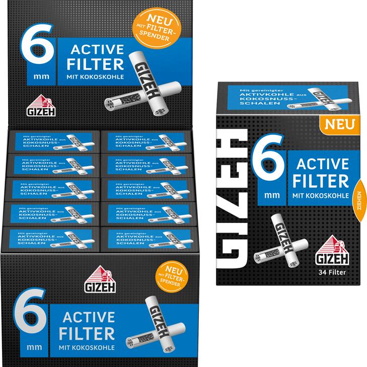 Gizeh Black Active Filter 6 mm 10 x 34 Stück