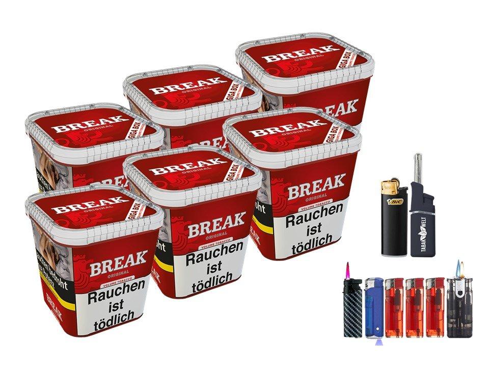 Break Original 6 x 230g Volumentabak Feuerzeug Set