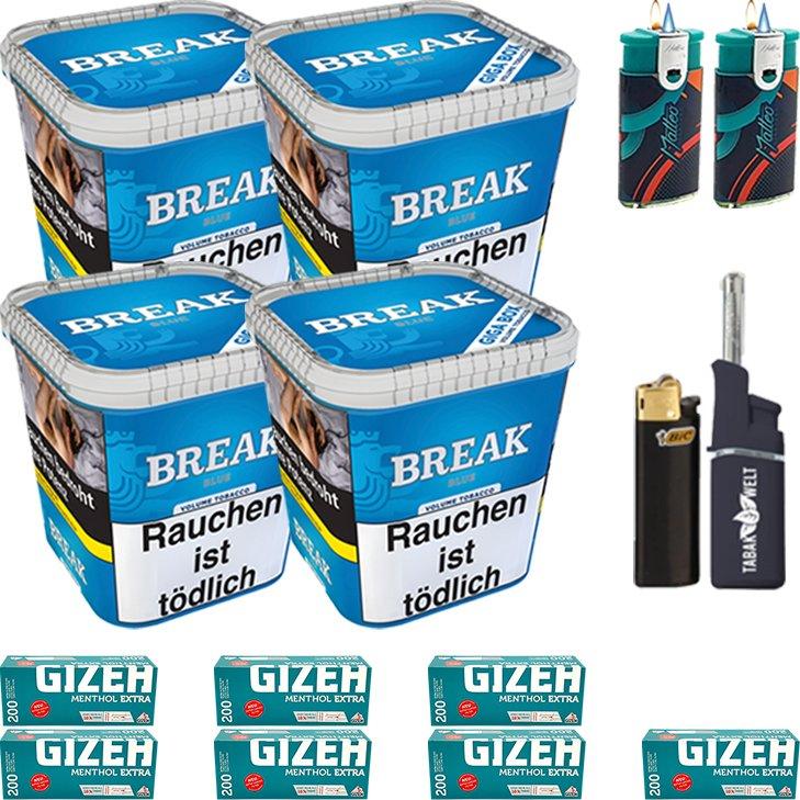 Break Blue 4 x 230g mit 1400 Menthol Extra Hülsen