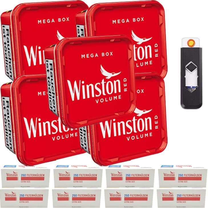Winston Mega Box 5 x 155g Volumentabak 2000 Extra Size Filterhülsen Feuerzeug