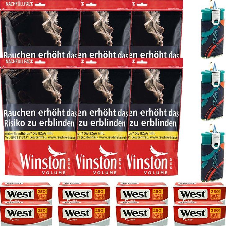 Winston Red 6 x 125g mit 2000 Special Size Hülsen