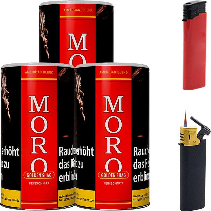 Moro Rot Feinschnitttabak 3 x 180g mit Feuerzeugen