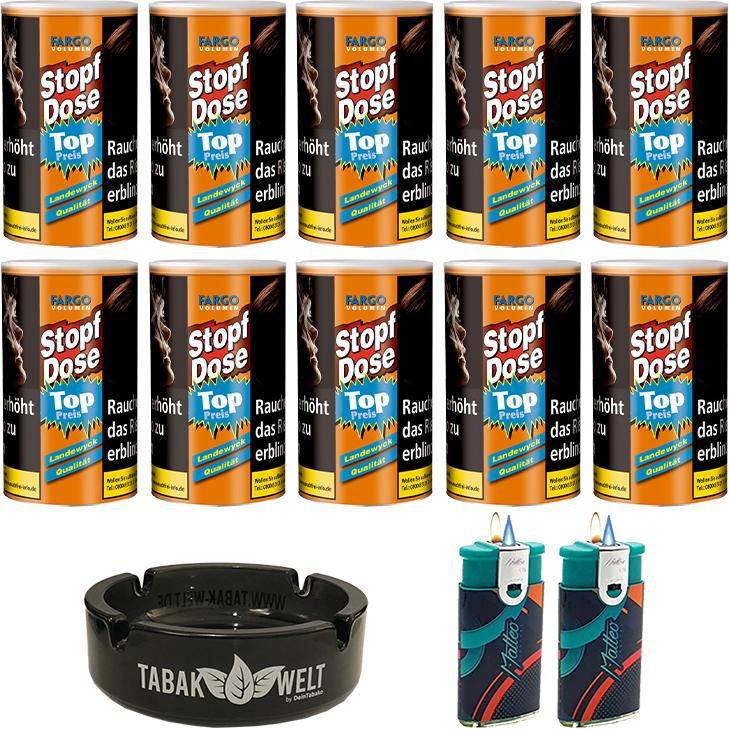 Fargo Stopfdose Volumen 10 x 100g mit Feuerzeugen und Aschenbecher