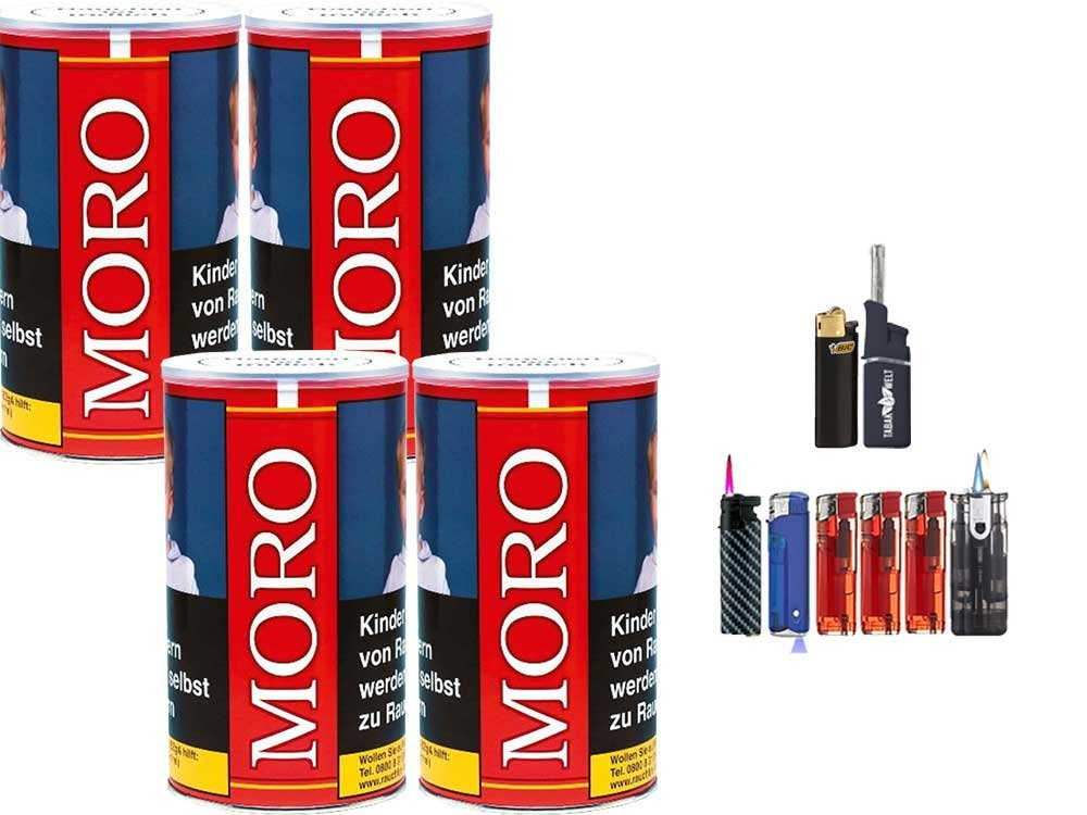 Moro Rot 4 x 180g Feinschnitt-Tabak Feuerzeug Set