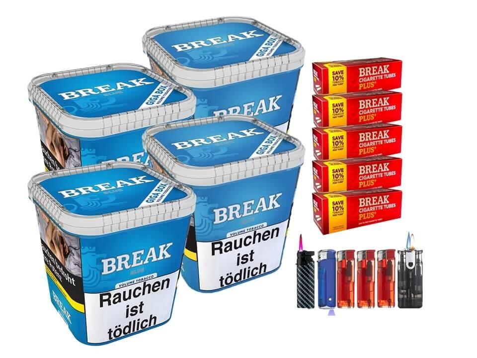 Break Blue / Blau 4 x 230g Volumentabak 1000 Break Xtra Plus Filterhülsen Uvm.