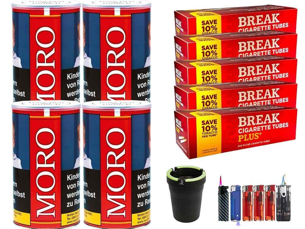 Moro Rot 4 x 180g Feinschnitt-Tabak 1000 Filterhülsen Uvm.