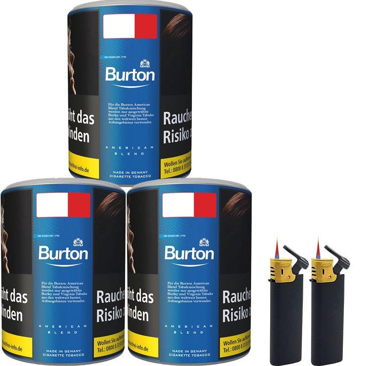 Burton Blue / Blau 3 x 120g mit Sturmfeuerzeugen