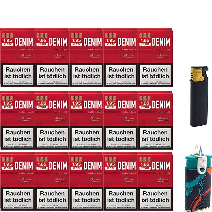 Denim Red Zigarillos mit Filter (3 Stangen) 30 x 17 Stück