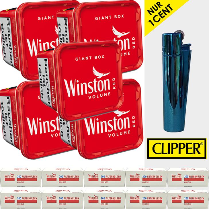 Winston Volume Red 5 x 260g mit 2000 King Size Hülsen