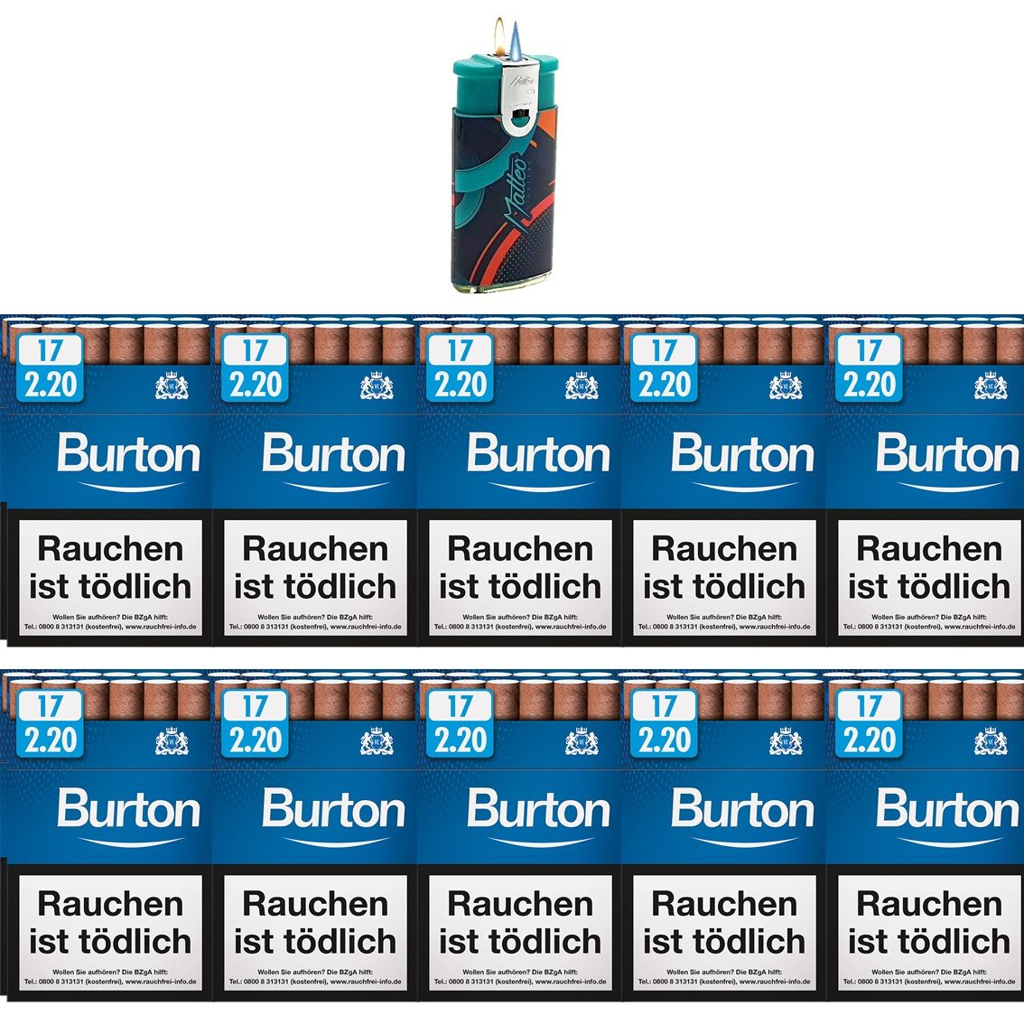 Burton Blue Filter Zigarillos mit Filter (2 Stangen) 20 x 17 Stück