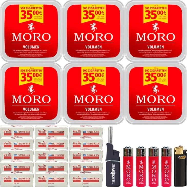 Moro Volumen 6 x 225g mit 3000 King Size Hülsen