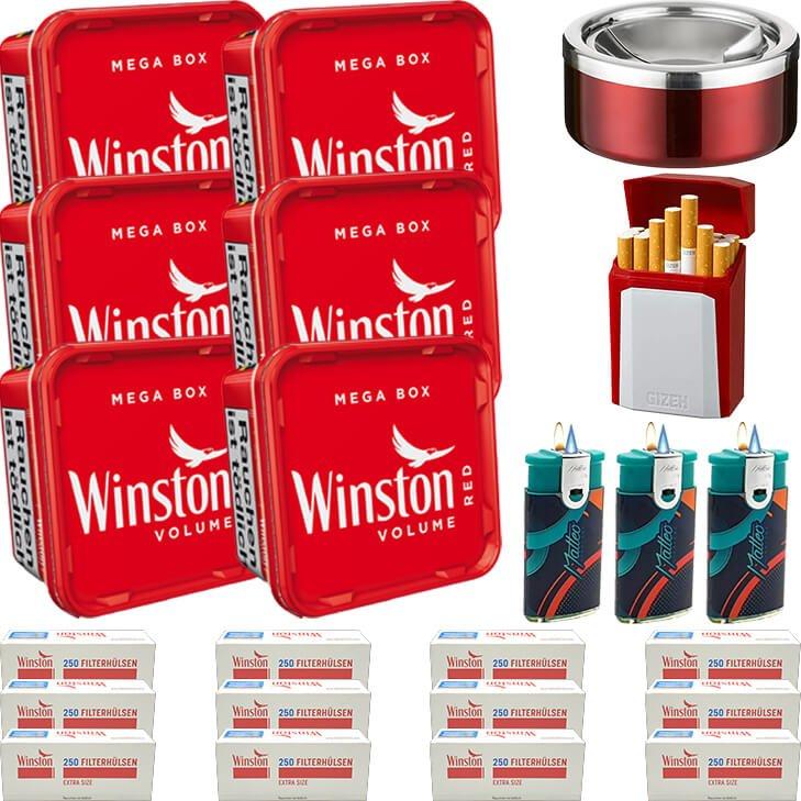 Winston Mega Box 6 x 155g mit 3000 Extra Size Hülsen
