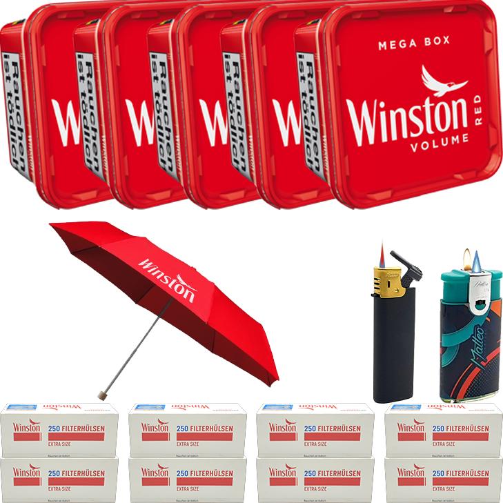 Winston Mega Box 5 x 155g mit 2000 Special Size Hülsen