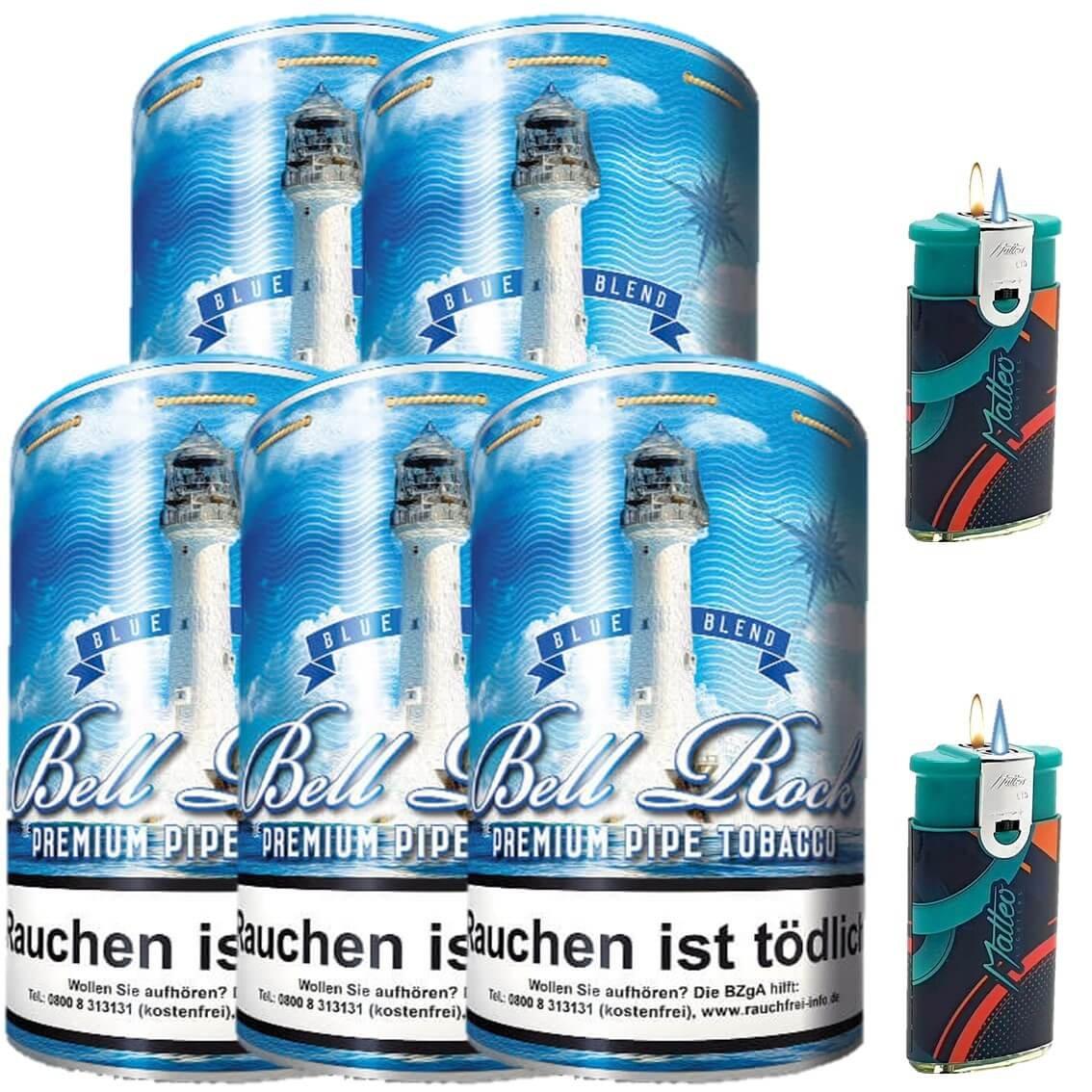 Bell Rock Blue Blend 5 x 160g Pfeifentabak 2 x Duo Feuerzeuge mit 2 Flammen