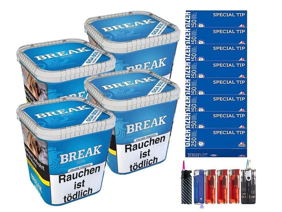 Break Blue / Blau 4 x 230g Volumentabak 2000 Filterhülsen Uvm.