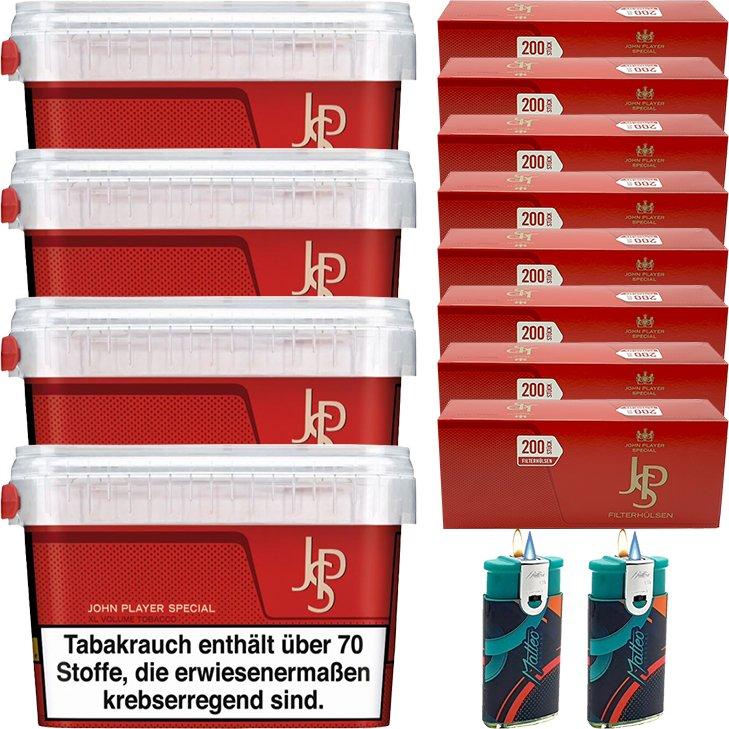 JPS John Player Mega Box 4 x 150g Volumentabak 1600 King Size Filterhülsen Uvm.