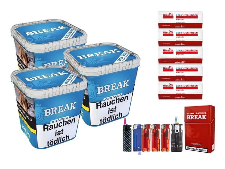 Break Blue / Blau 3 x 230g Volumentabak 1000 King Size Filterhülsen Uvm.