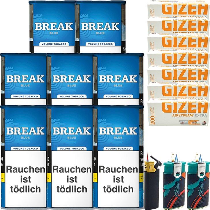 Break Blue / Blau 8 x 115g mit 1400 Gizeh Extra Hülsen