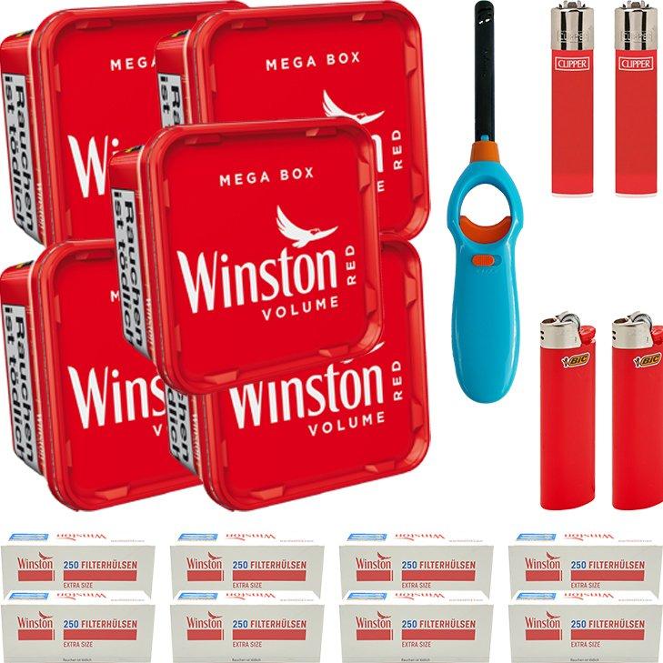Winston Mega Box 5 x 155g mit 2000 Extra Size Hülsen