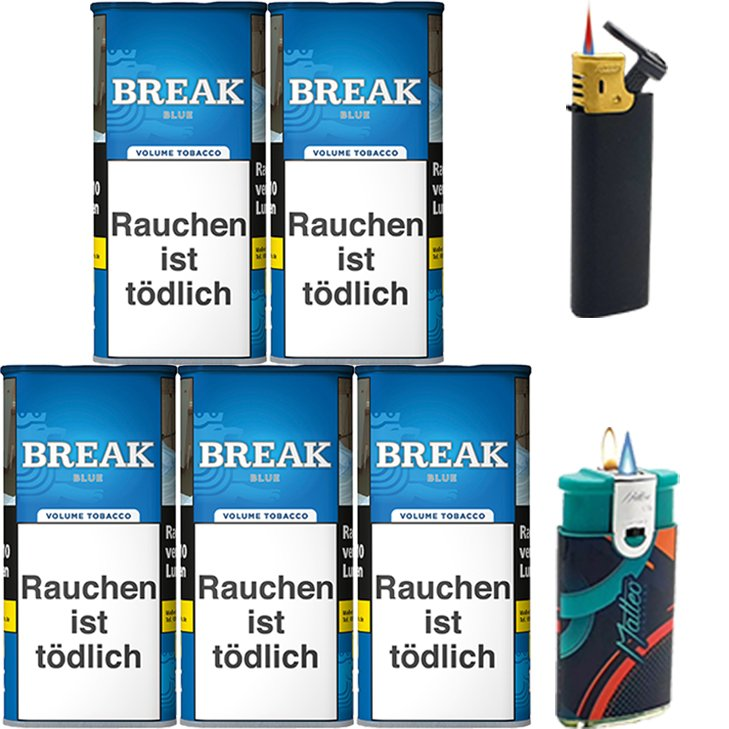 Break Blue / Blau 5 x 115g mit Feuerzeuge