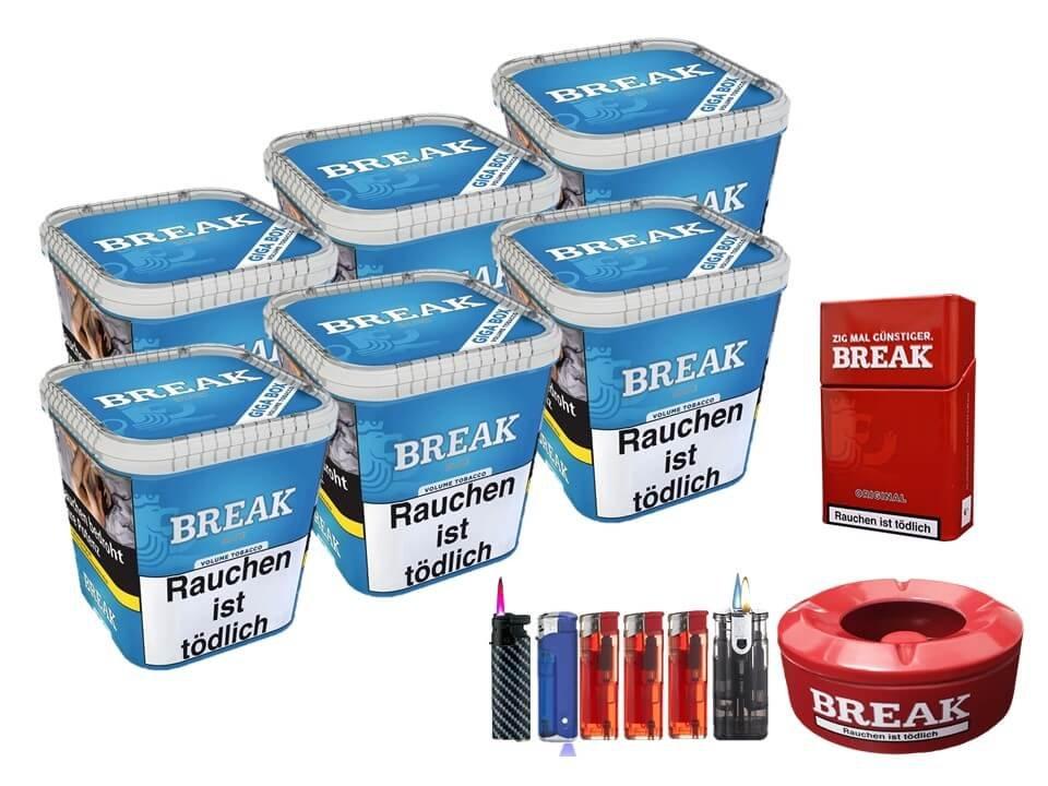 Break Blue / Blau 6 x 230g Volumentabak Uvm.