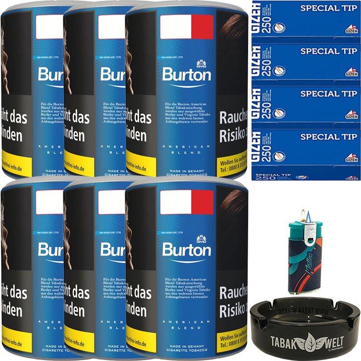 Burton Blue / Blau 6 x 120g mit 1000 King Size Hülsen