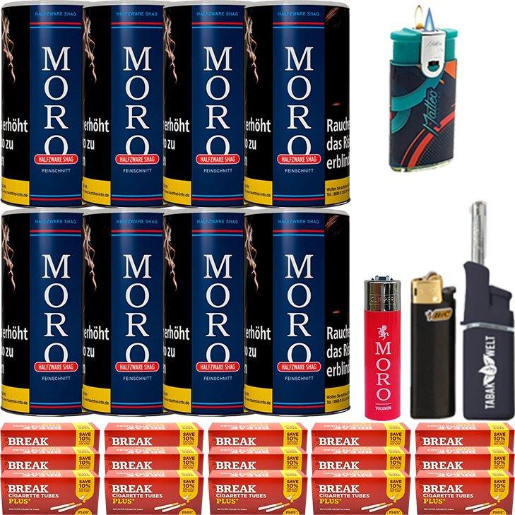 Moro Blau Feinschnittabak 8 x 180g mit 3000 Plus Hülsen