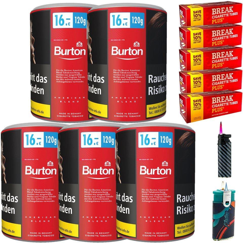 Burton Original 5 x 120g Feinschnitt Tabak 1000 Filterhülsen Uvm.