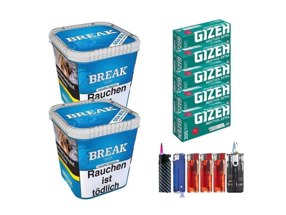 Break Blue / Blau 2 x 230g Volumentabak Gizeh Menthol Extra 1000 Filterhülsen Uvm.