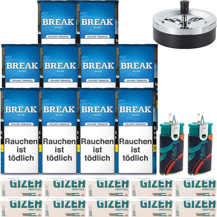Break Blue / Blau 10 x 115g mit 2000 Gizeh Menthol Hülsen
