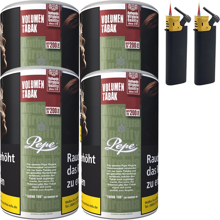 Pepe Rich Green 4 x 85g mit Sturmfeuerzeugen