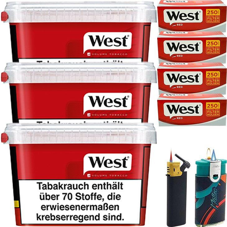West Red 3 x 155g mit 1000 Extra Size Hülsen