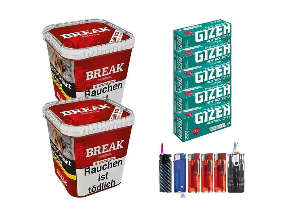 Break Original 2 x 230g Volumentabak 1000 Gizeh Menthol Extra Filterhülsen Uvm.