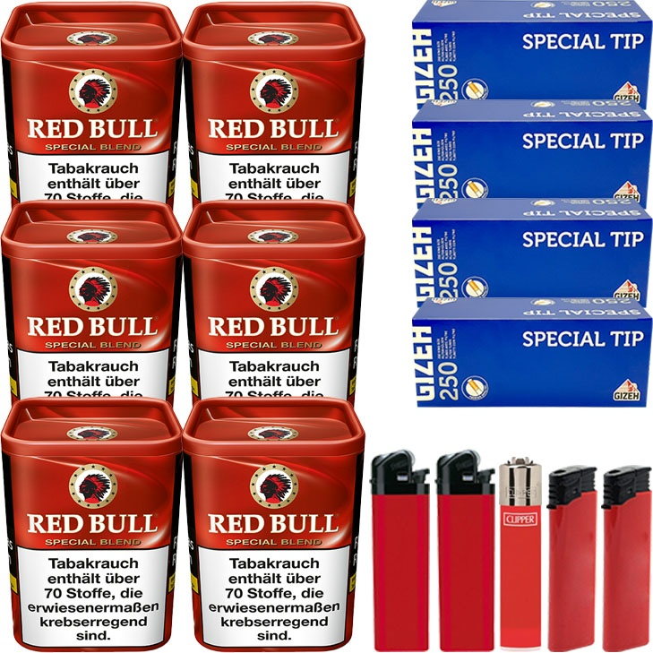 Red Bull Special Blend 6 x 120g mit 1000 Gizeh King Size Hülsen