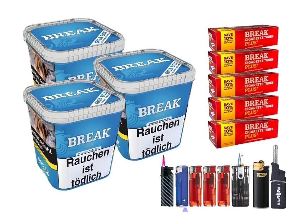 Break Blue / Blau 3 x 230g Volumentabak 1000 Break Xtra Plus Filterhülsen Uvm.